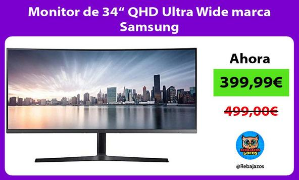 "Monitor de 34"" QHD Ultra Wide marca Samsung"