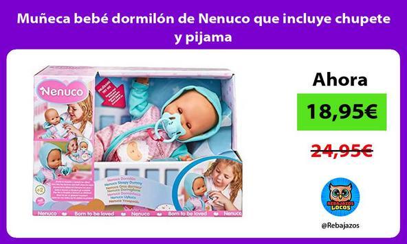 Muñeca bebé dormilón de Nenuco que incluye chupete y pijama