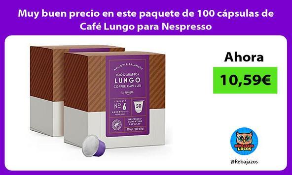 Muy buen precio en este paquete de 100 cápsulas de Café Lungo para Nespresso