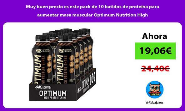 Muy buen precio es este pack de 10 batidos de proteína para aumentar masa muscular Optimum Nutrition High