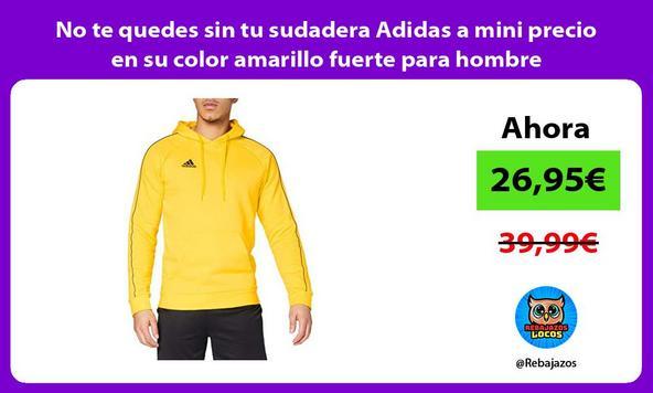 No te quedes sin tu sudadera Adidas a mini precio en su color amarillo fuerte para hombre
