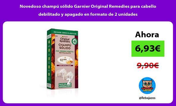 Novedoso champú sólido Garnier Original Remedies para cabello debilitado y apagado en formato de 2 unidades