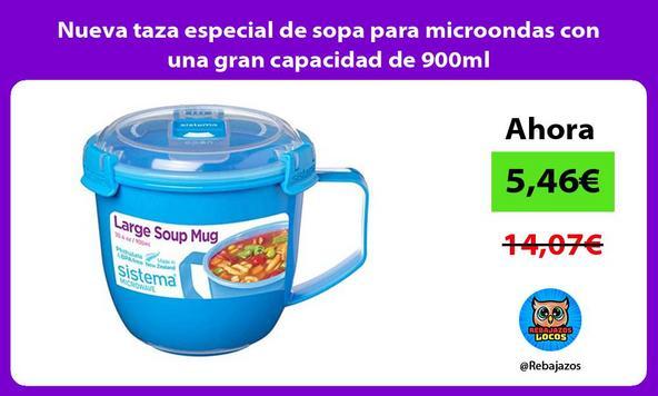 Nueva taza especial de sopa para microondas con una gran capacidad de 900ml