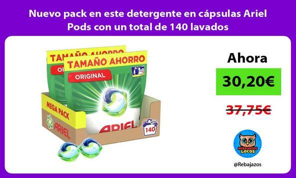 Nuevo pack en este detergente en cápsulas Ariel Pods con un total de 140 lavados