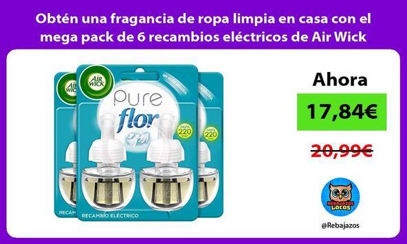 Obtén una fragancia de ropa limpia en casa con el mega pack de 6 recambios eléctricos de Air Wick