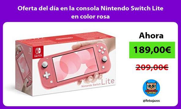 Oferta del día en la consola Nintendo Switch Lite en color rosa