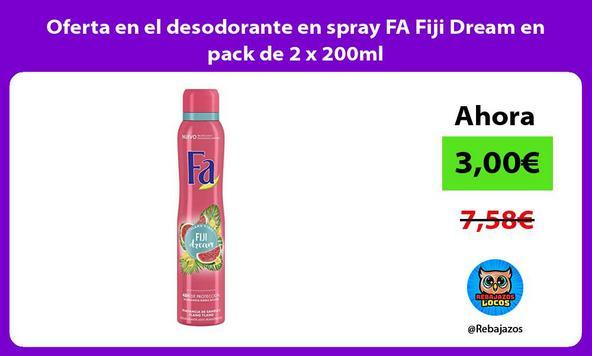 Oferta en el desodorante en spray FA Fiji Dream en pack de 2 x 200ml