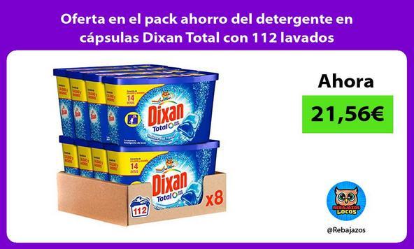 Oferta en el pack ahorro del detergente en cápsulas Dixan Total con 112 lavados