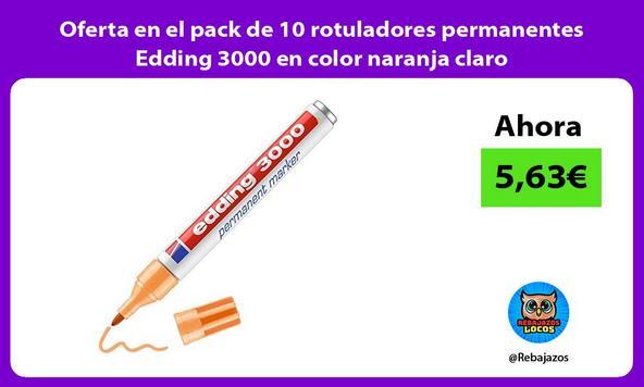 Oferta en el pack de 10 rotuladores permanentes Edding 3000 en color naranja claro