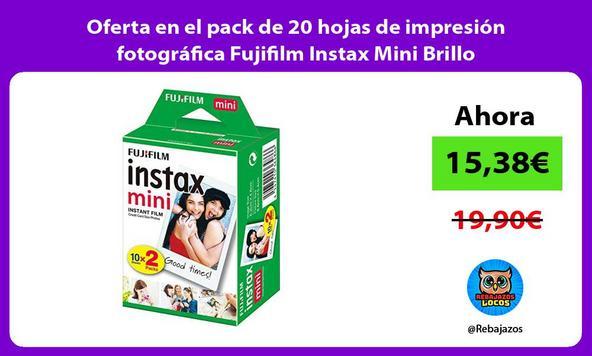 Oferta en el pack de 20 hojas de impresión fotográfica Fujifilm Instax Mini Brillo