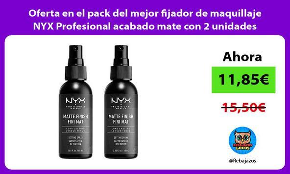 Oferta en el pack del mejor fijador de maquillaje NYX Profesional acabado mate con 2 unidades