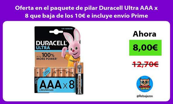 Oferta en el paquete de pilar Duracell Ultra AAA x 8 que baja de los 10€ e incluye envío Prime