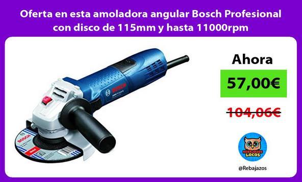 Oferta en esta amoladora angular Bosch Profesional con disco de 115mm y hasta 11000rpm