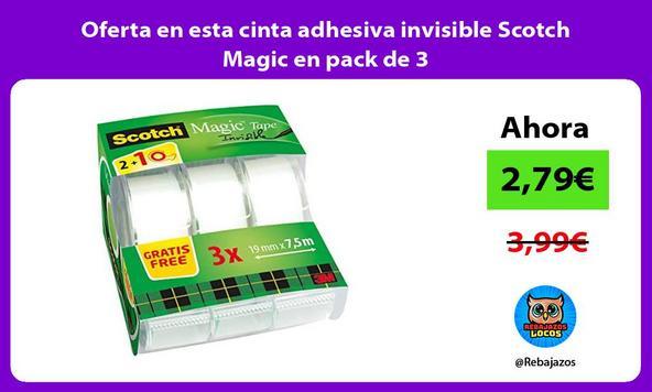 Oferta en esta cinta adhesiva invisible Scotch Magic en pack de 3
