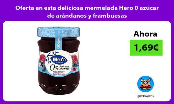 Oferta en esta deliciosa mermelada Hero 0 azúcar de arándanos y frambuesas