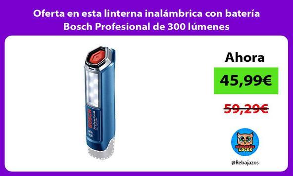 Oferta en esta linterna inalámbrica con batería Bosch Profesional de 300 lúmenes