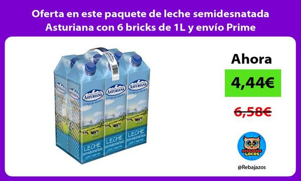 Oferta en este paquete de leche semidesnatada Asturiana con 6 bricks de 1L y envío Prime