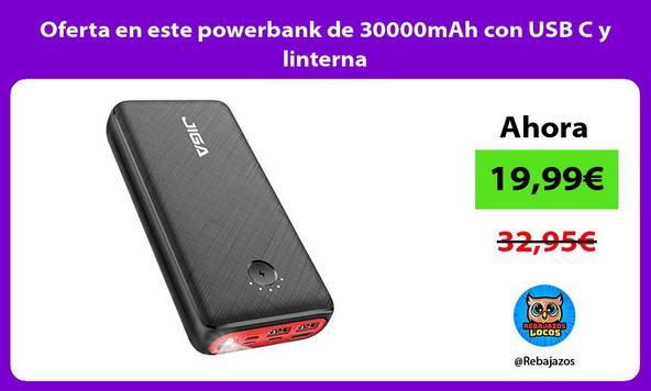 Oferta en este powerbank de 30000mAh con USB C y linterna