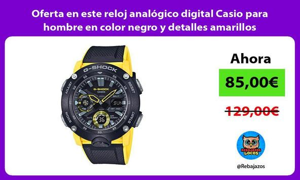 Oferta en este reloj analógico digital Casio para hombre en color negro y detalles amarillos