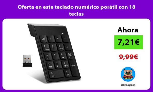 Oferta en este teclado numérico porátil con 18 teclas