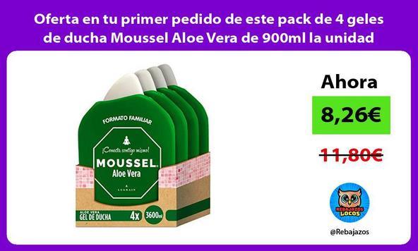 Oferta en tu primer pedido de este pack de 4 geles de ducha Moussel Aloe Vera de 900ml la unidad