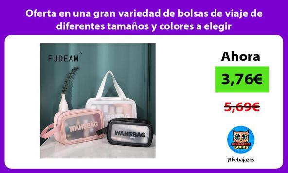 Oferta en una gran variedad de bolsas de viaje de diferentes tamaños y colores a elegir