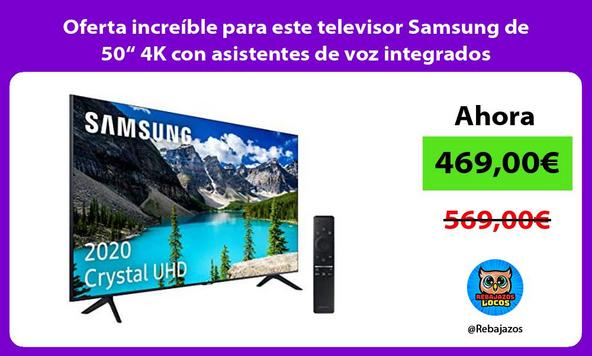 "Oferta increíble para este televisor Samsung de 50"" 4K con asistentes de voz integrados"