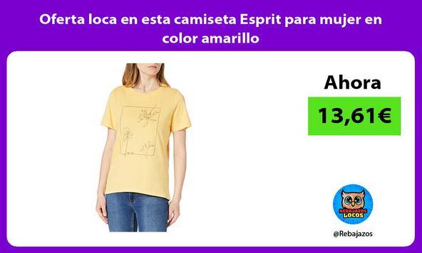 Oferta loca en esta camiseta Esprit para mujer en color amarillo