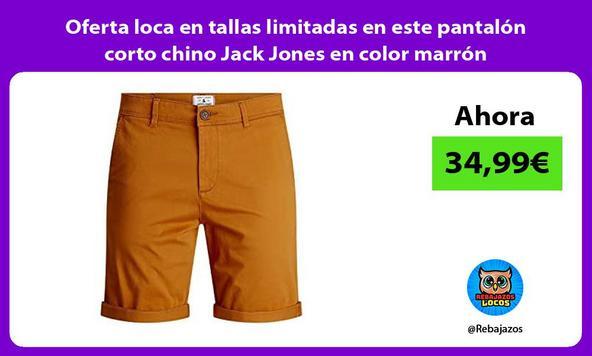 Oferta loca en tallas limitadas en este pantalón corto chino Jack Jones en color marrón