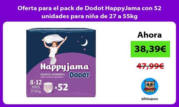 Oferta para el pack de Dodot HappyJama con 52 unidades para niña de 27 a 55kg