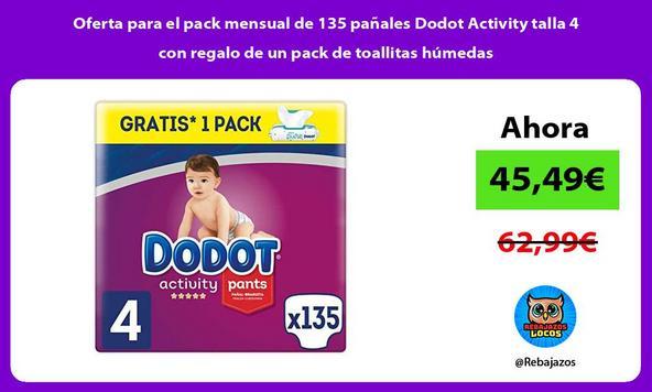 Oferta para el pack mensual de 135 pañales Dodot Activity talla 4 con regalo de un pack de toallitas húmedas