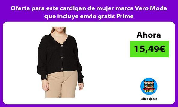 Oferta para este cardigan de mujer marca Vero Moda que incluye envío gratis Prime