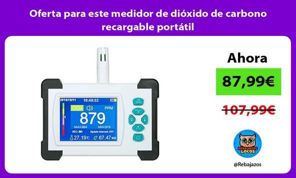 Oferta para este medidor de dióxido de carbono recargable portátil