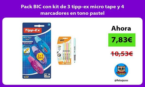 Pack BIC con kit de 3 tipp-ex micro tape y 4 marcadores en tono pastel