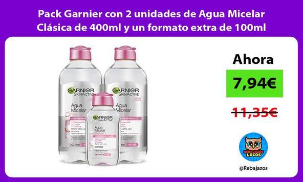 Pack Garnier con 2 unidades de Agua Micelar Clásica de 400ml y un formato extra de 100ml
