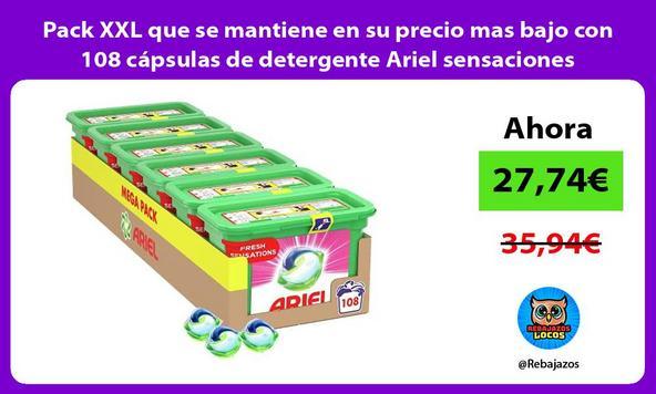 Pack XXL que se mantiene en su precio mas bajo con 108 cápsulas de detergente Ariel sensaciones
