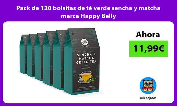Pack de 120 bolsitas de té verde sencha y matcha marca Happy Belly