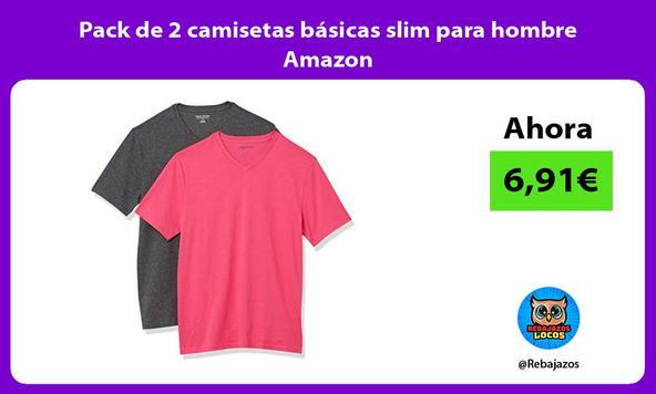 Pack de 2 camisetas básicas slim para hombre Amazon