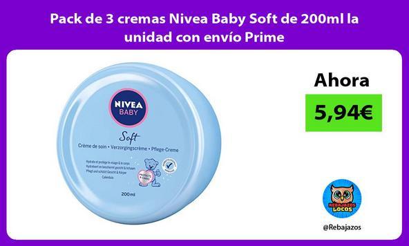 Pack de 3 cremas Nivea Baby Soft de 200ml la unidad con envío Prime