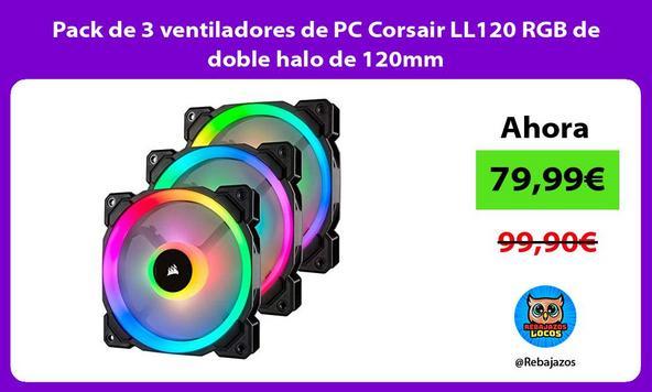 Pack de 3 ventiladores de PC Corsair LL120 RGB de doble halo de 120mm