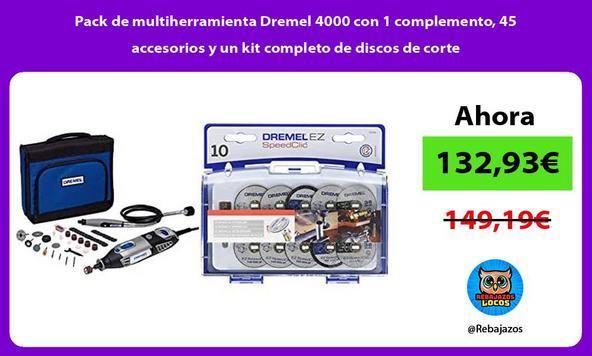 Pack de multiherramienta Dremel 4000 con 1 complemento, 45 accesorios y un kit completo de discos de corte