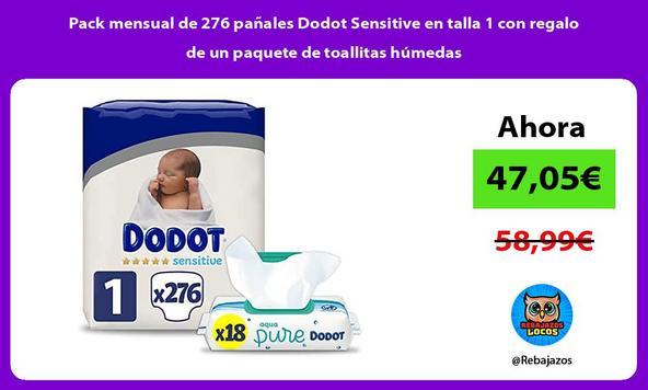 Pack mensual de 276 pañales Dodot Sensitive en talla 1 con regalo de un paquete de toallitas húmedas
