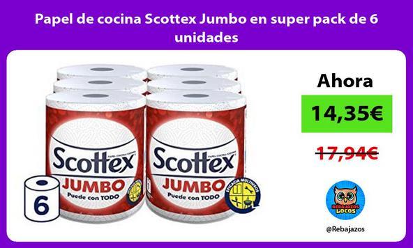 Papel de cocina Scottex Jumbo en super pack de 6 unidades
