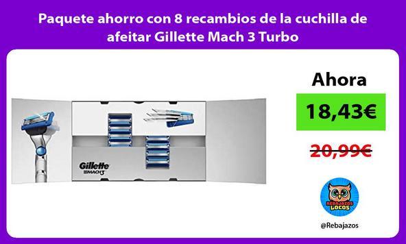 Paquete ahorro con 8 recambios de la cuchilla de afeitar Gillette Mach 3 Turbo