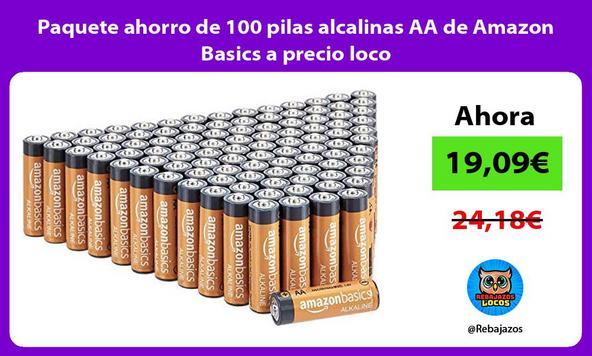 Paquete ahorro de 100 pilas alcalinas AA de Amazon Basics a precio loco
