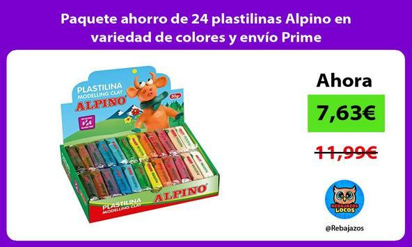 Paquete ahorro de 24 plastilinas Alpino en variedad de colores y envío Prime
