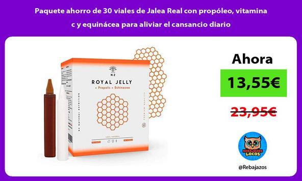 Paquete ahorro de 30 viales de Jalea Real con propóleo, vitamina c y equinácea para aliviar el cansancio diario