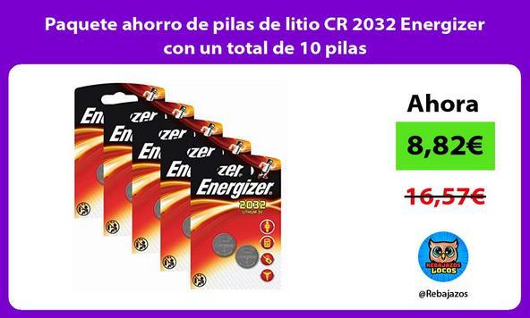 Paquete ahorro de pilas de litio CR 2032 Energizer con un total de 10 pilas