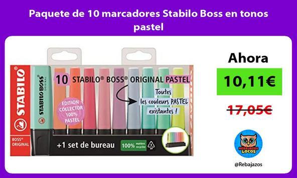 Paquete de 10 marcadores Stabilo Boss en tonos pastel
