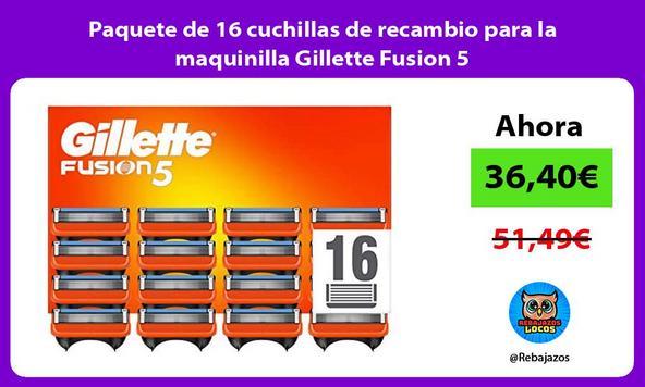 Paquete de 16 cuchillas de recambio para la maquinilla Gillette Fusion 5